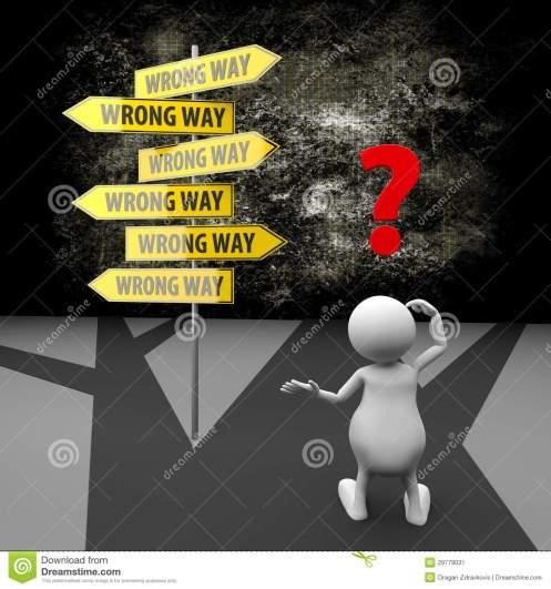 confusion and wrong way